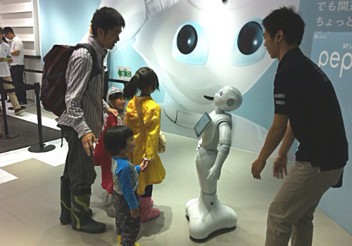 Pepper robot with kids